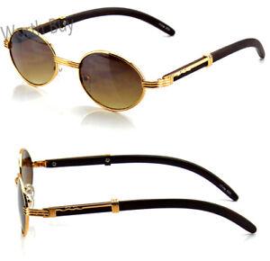 New Mens Womens Retro Vintage Designer Fashion Sunglasses Shades Buffs Gold Oval
