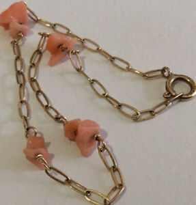 Vintage Jewellery Beautiful Dainty 14k Gold Filled Coral Chip Chain Bracelet