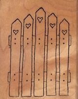 """loving fence fairdrops Wood Mounted Rubber Stamp 2 3/4 x 2 1/4""""Free Shipping"""