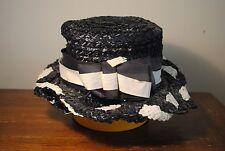 New listing Vintage ladies women (s) hat straw ribbon black white