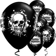 Halloween Latex Balloons Haunted Skull - 11'' Latex - Pack of 6 - Black