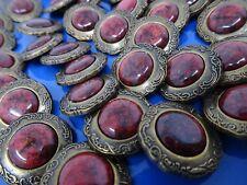 Vtg Marbled Lipstick Red Black Rhinestone Shank Button 22mm Lot of 8 B137-11