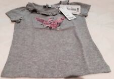 Armani Junior Girl's Logo Top Tshirt Short Sleeved Cotton Grey New