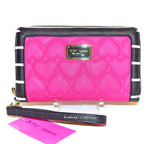 BETSEY JOHNSON Quilted HEART Oversized FUCHSIA Clutch Wristlet iPHONE Wallet NWT
