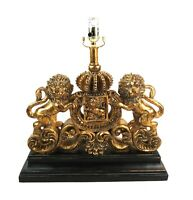 Rare Vintage Figural Resin Table Lamp Lion Crown Crest of Belgium