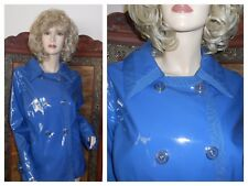 vtg M/L Shiny Blue PVC vinyl raincoat rain jacket slicker Patent Trench Coat