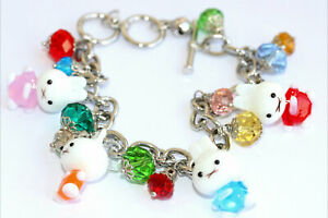 Handmade Glass Miffy & Colorful Swarovski Crystal Charm Bracelet (Adjustable)