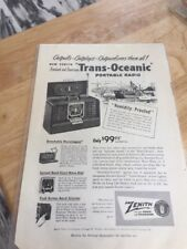 ZENITH Trans-Oceainc Radio 1967 Print Ad Back Side Dumont