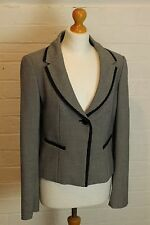 HOBBS Ladies Black & White Houndstooth Blazer / Tailored Jacket - Size UK 12