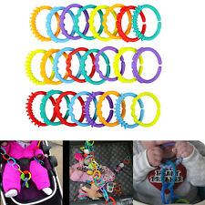 24pcs Plastic Kid Baby Stroller Gym Play Mat Toy Rainbow Teether Ring Link