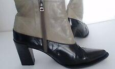 Womens Prada Ankle Boots Size 37 Black Grey Side Zipper Cuoio