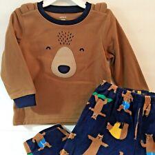 Carters Baby Boy 24M Pajama Set Brown Fleece Bear New