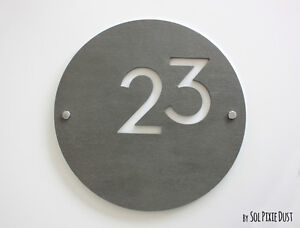 Modern House Numbers, Round Concrete with White Acrylic - Sign Plaque
