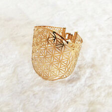 Flower of life gold-plated cuff bracelet, Stainless Steel, GOLD Color