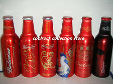 Lot of 6 different Budweiser beer aluminium bottles 355ml from China empty - A