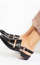Free People Runaway Slingback Loafer Sandal Embossed Leather Black Sz 38 $138