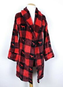 VS PINK Women's Red/Black Buffalo Check Plaid Fleece Bathrobe Size XS No Belt