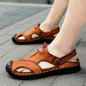 Men's Walking Leather Sandals Fisherman Shoes Outdoor Summer Waterproof Slippers