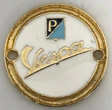 Vintage Original Vespa Piaggio Enamel And Gold Scooter Badge Emblem
