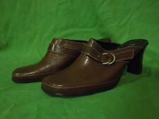 """Alfani size 8.5 M leather brown casual shoes mules clogs high heel 3.5"""""""