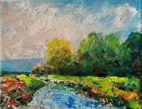river stream trees hills impressionism texture impasto oil painting landscape