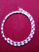 "Estate $5000 15ct Pink Sapphire & Diamond 14k White Gold Over 18""Tennis Necklace"
