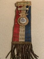 Antique 1903 Franco America Federation Pinback Pendant Ribbon New Bedford Mass