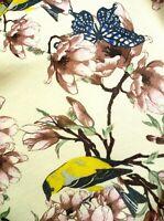 BIRD BUTTERFLY L XL ASIAN FLORAL LOOK GATHERED BABYDOLL ORIOLE BIRD BLOUSE WOMEN