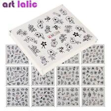 24 Sheets Nail Art Water Transfer Sticker Decal Black Flowers DIY Manicure Decor