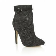 Dolcis Ruby Black Glitter Stiletto Ankle Boots Size 6 RRP £42 LAST PAIR OF 6's!!