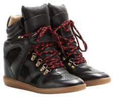 $850 NEW 37/7 Etoile Isabel Marant Leather Suede Wedge Black Sneaker Tibetan