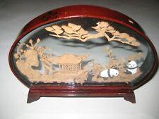 Rare Vintage Antique Ornate Fine Mini Wood Carved Panda Bears Scene In Glass
