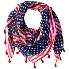 D&Y Women's American Flag Stripe Scarf with Tassels Americana 43x43