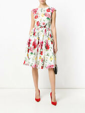 Dolce & Gabbana Sleeveless High-Neck Floral-Print Cotton Midi Dress 40 IT (6 US)