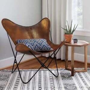 Handmade Genuine Vintage Tan Buffalo Leather Home & Garden Butterfly Chair BKF