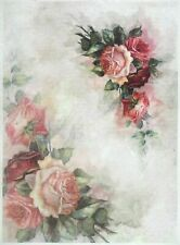 Rice Paper for Decoupage Decopatch Scrapbook Craft Sheet Vintage Painted Roses