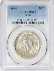 1934 Texas Silver Commemorative Half Dollar - PCGS MS-65 - Mint State 65
