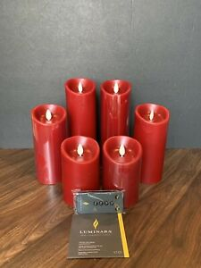 "Luminara 6-Piece Assorted Pillar Decorator Set With Remote - RED 4"" 6"" 8"""