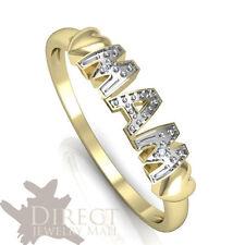 9ct REAL Yellow GOLD GENUINE White DIAMOND MAM Heart Ring Mother Gift Full Size