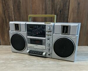 Faux Cassette Radio Player Quartz Movement Black Metal Battery Powered WHW Whole House Worlds Vintage Boom-Box Clock Thermometer 1 AA 13.75 L x 3.25 W x 7.75 H Inches Rectangle