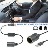 USB Port To 12V Car Cigarette Lighter Female Socket Converter Adapter Cable Cord
