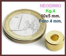 5 Pezzi NEODIMIO MAGNETE Disco 10x4 mm ORO 4 KG. N 42 CALAMITA CALAMITE MAGNETI