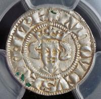 1328, Germany, Aachen, Emperor Louis IV. Rare Sterling (Denar) Coin. PCGS AU55!