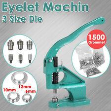 Heavy Duty Eyelet Grommet Machine 3 Dies Hand Press Tool 1500 Silver Grommets