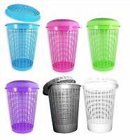 Plastic Large Round Laundry Basket Bin Linen Washing Storage Hamper With Lid 50L