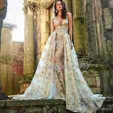 Luxury Lace Long Formal Evening Dress Celebrity Cocktail Party Prom Wedding Gown