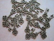 20 antiqued bronze  skeleton keys wedding vintage style  pendants charms 20 mm