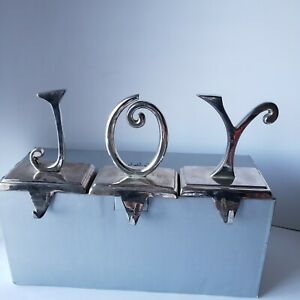 Pottery Barn JOY Stocking Holder Set Of 3 Silver Plated Letters Christmas Decor
