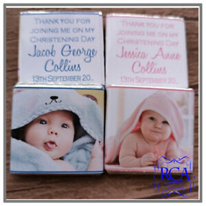 Personalised Christening Day Baptism Birthday Chocolates Favours Photo Design