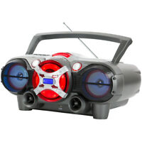 QFX J-50U Portable Jumbo Bluetooth Boombox Radio with Cassette Recorder - Silver